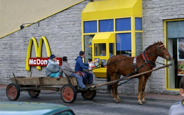 mcdonalds-drive-through-in-romania-horse-and-a-waggon